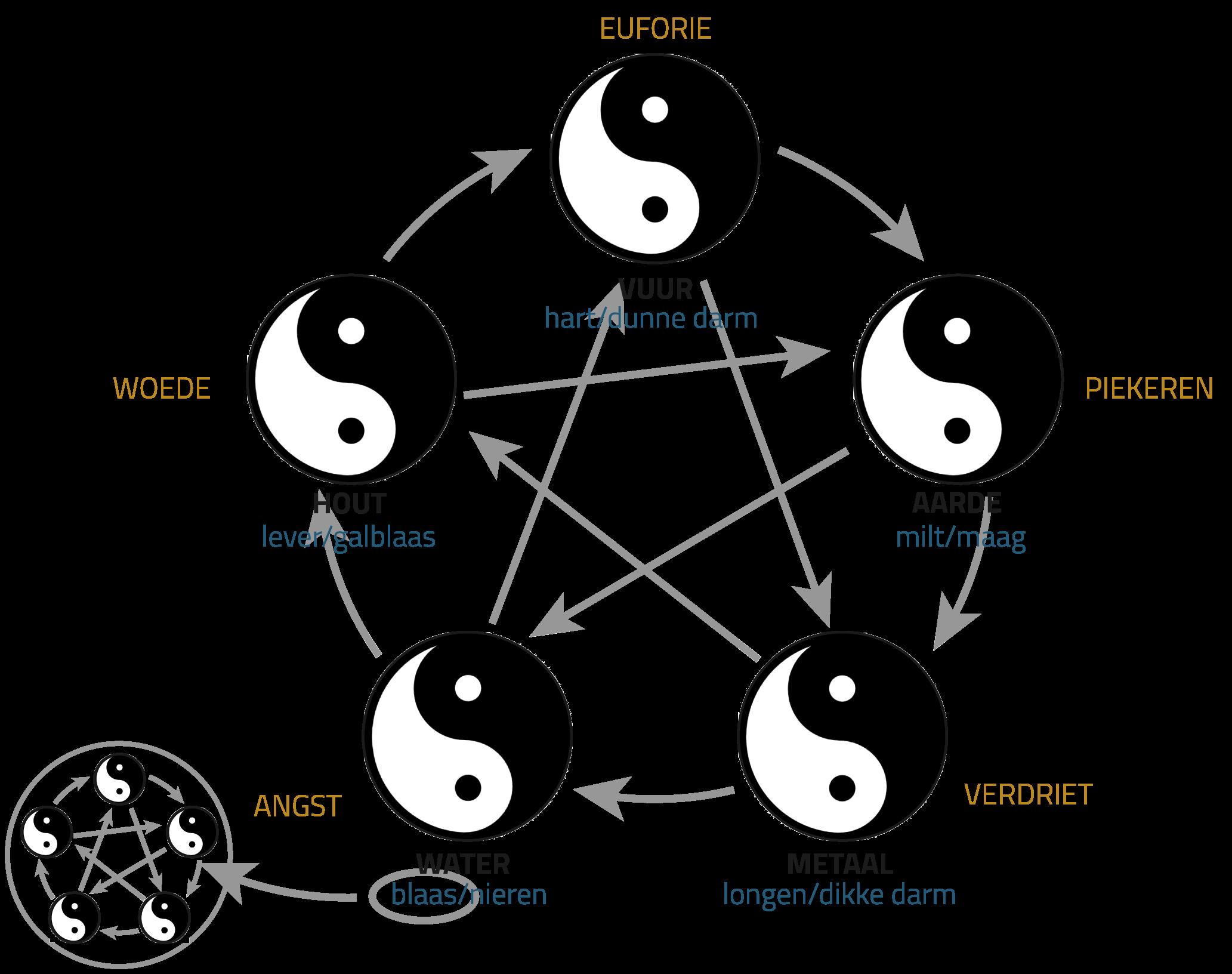 Uitleg van de Qi Gong vijf elementen, betekenis, meridianen en organen